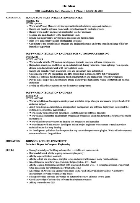 Software Integration Engineer by Computer Engineer Sle Resume Exle Recommendation Letter For Employee Shamrock Outline Clipart