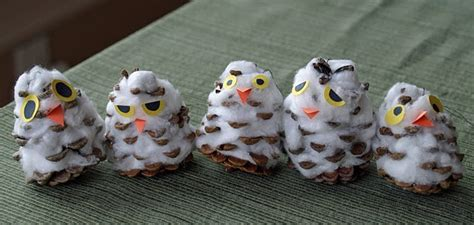 Tippytoe Crafts Pine Cone Snowy Owls - 28 best images about owl habitat on class