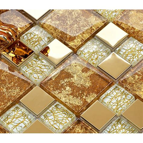 crystal glass mosaic plated tiles art design wall tile