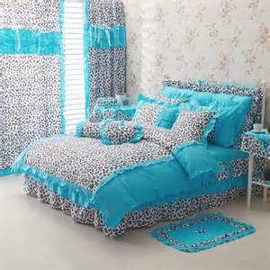 Cheap Down Duvet Blue Leopard Girls Ruffle Duvet Cover Bedding Sets Girls