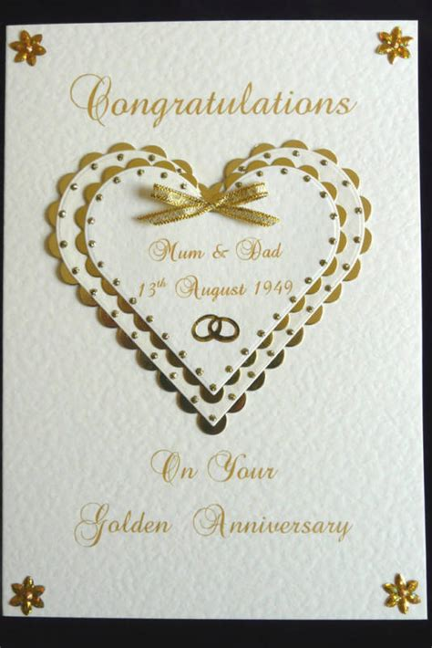 Handmade Golden Wedding Anniversary Cards - 50th golden wedding anniversary card handmade personalised