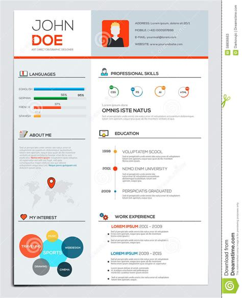 ultimate cv layout flat resume with infographics stock vector image 58806663