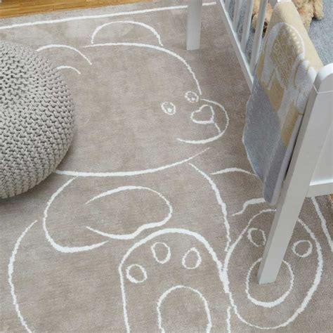 tapis chambre d enfant tapis moderne en coton beige avec motif ourson pour