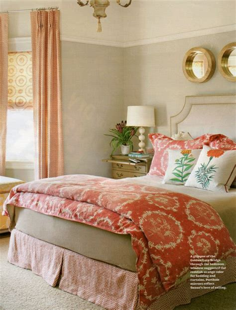 beige and coral bedroom raoul fabric holly mathis interiors