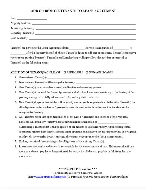 Lease Removal Letter Add Or Remove Tenants To Lease Agreement Pdf Property Management Forms