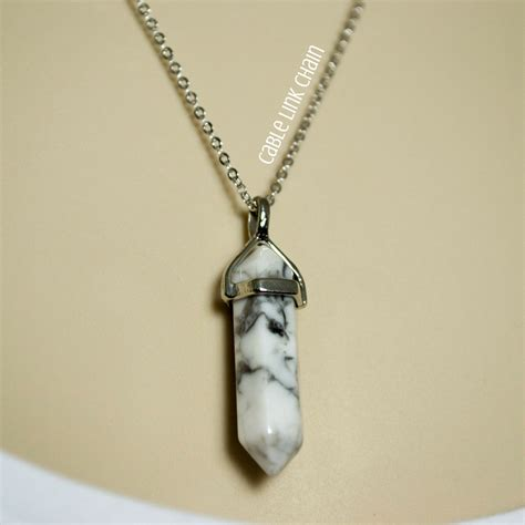 Marble Necklace white howlite necklace white marble necklace white gemstone