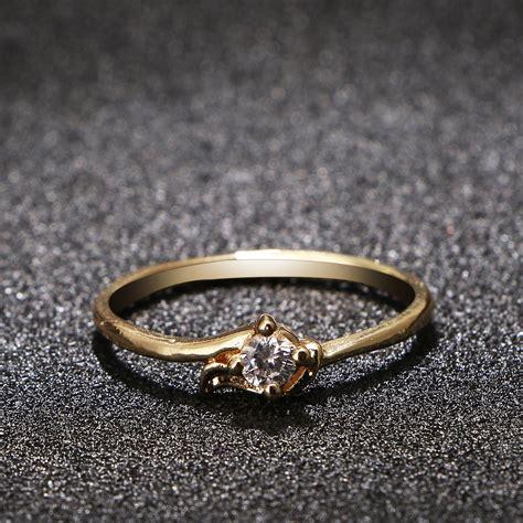 Rhinestone Ring Gold bling gold plated wedding band 2016 fashion rhinestone