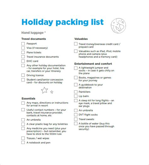downloadable packing list