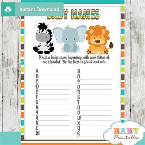 theme names for baby shower jungle theme baby shower games package d134