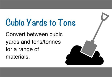 Convert Yard To Tons For Gravel by Cubic Yards To Tons Calculator