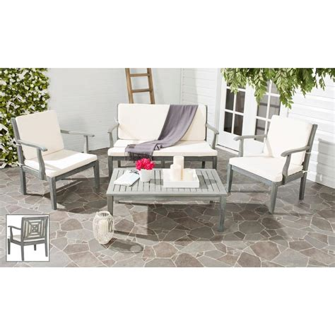 safavieh del mar ash gray 4 piece patio seating set with