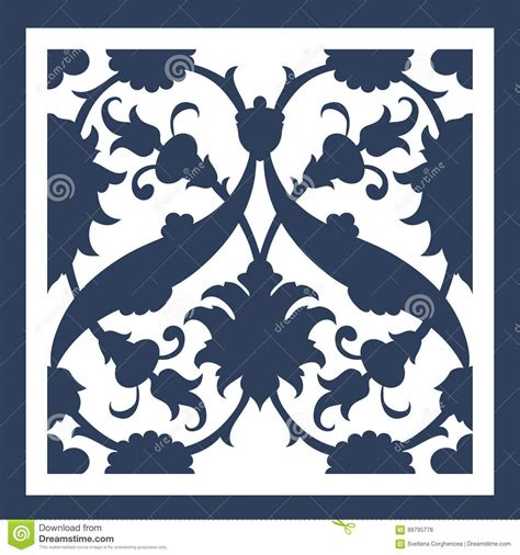 Silhouette Birthday Card Template by Laser Cut Floral Arabesque Ornament Pattern Vector