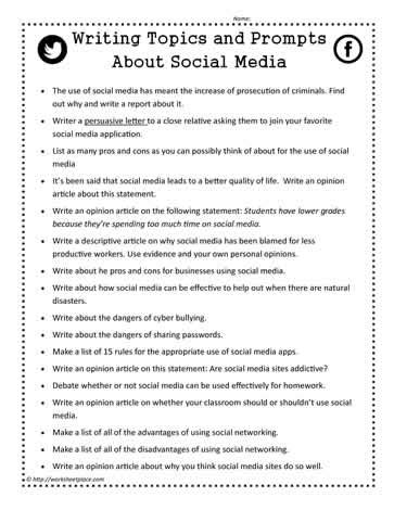 Social Media Opinion Essay by Writing Prompts For Social Media Worksheets