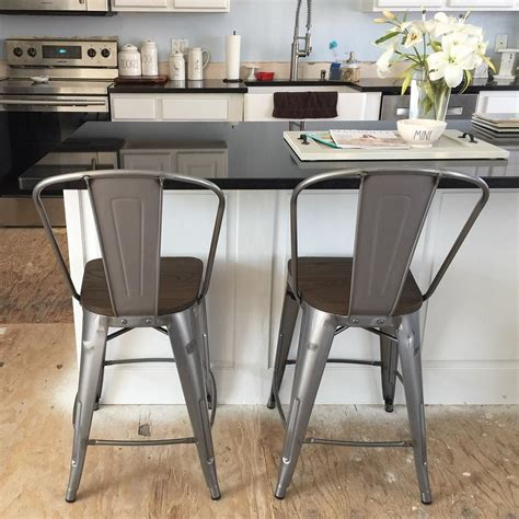 Carlisle Metal Bar Stool Set Of 2 by Carlisle 29 Quot Barstool With Wood Seat Metal Set