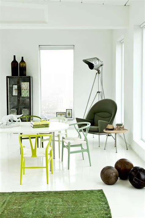 green interiors green chairs green themed room carl hansen son green coloured wishbone