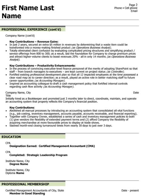 resume vp finance