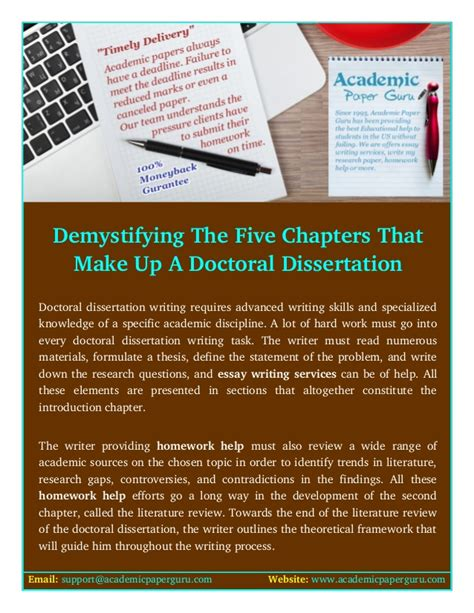 demystifying dissertation writing demystifying the five chapters that make up a doctoral