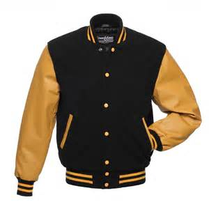 black wool and gold leather letterman jacket c134