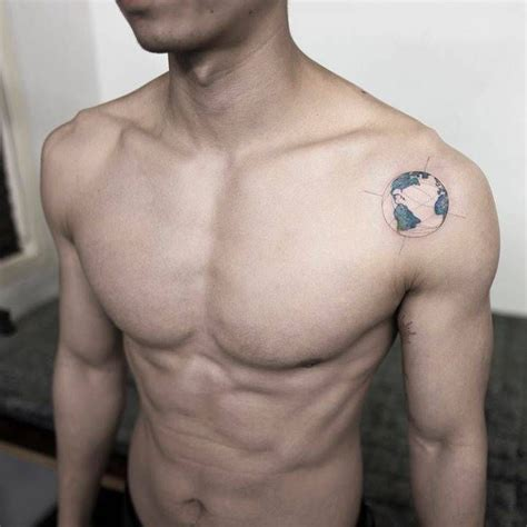 earth tattoo best 25 mens shoulder ideas on