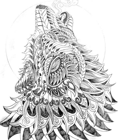 zentangle adult coloring pages printable for wolf coloring