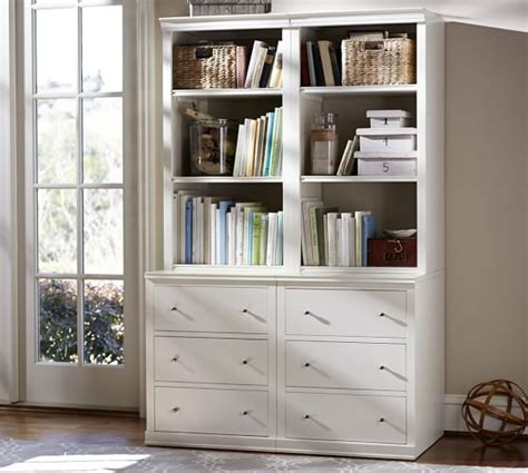 logan bookcase with drawers pottery barn