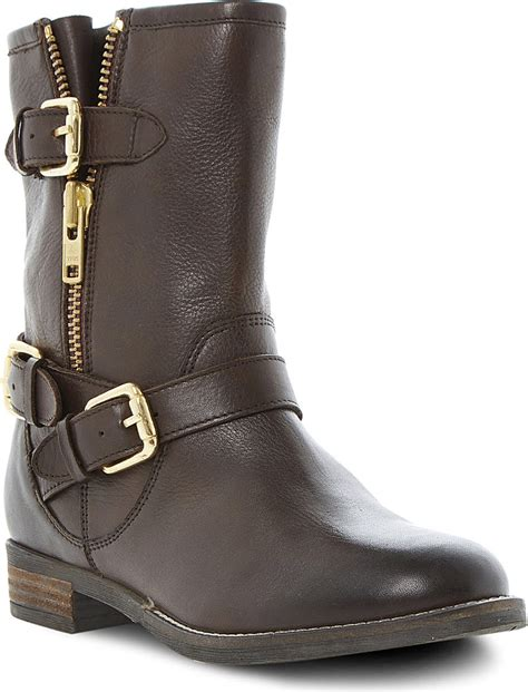 dune robbin biker boots in brown lyst