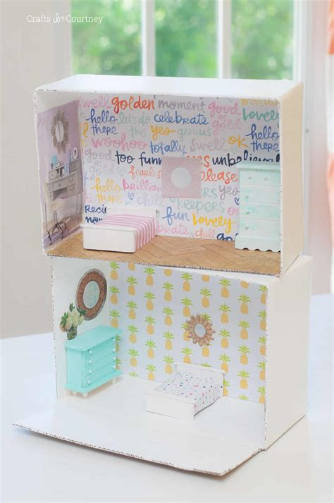 can i dollhouse diy dollhouse from a cardboard box mod podge rocks