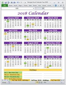 Calendar 2018 Excel File 2018 Excel Calendar Year Template Printable Monthly