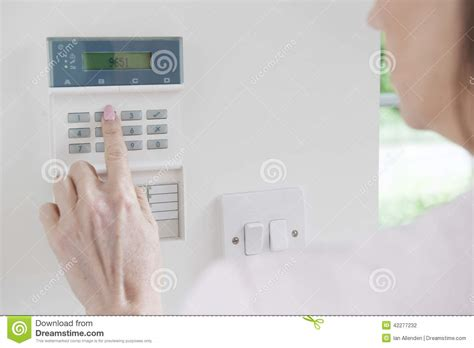 setting panel on home security system stock