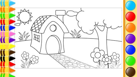 draw  color house trees  flowers