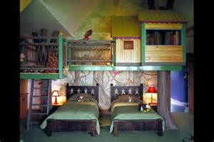 modern bedroom furniture interior: bedroom set up perfect for little boys sharing a room and a play house