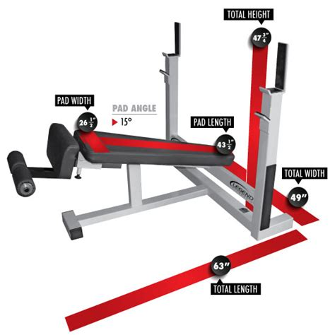 dimensions of bench press olympic decline bench legend fitness