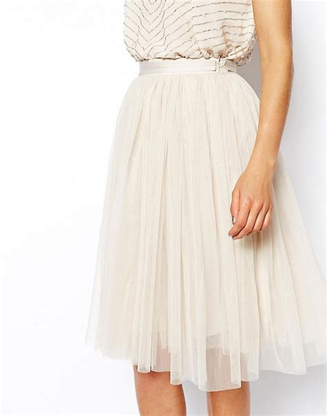 needle thread needle thread tulle midi skirt at asos