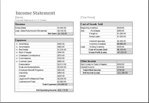 income statement template xls ms excel income statement editable printable template