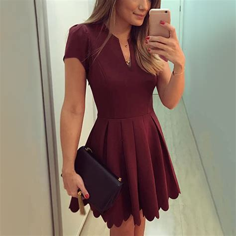 burgundy casual dresses simple   short homecoming