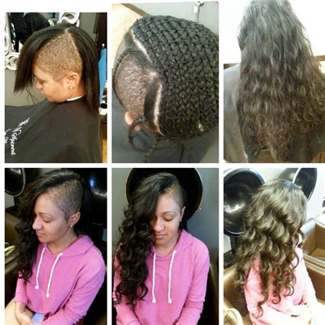 sew in 3 braid sew in shaved sides braid extensions wavy human hair