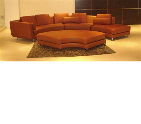 Sectional Sofa With Ottoman Dreamfurniture Divani Casa A94 Contemporary Brown Leather Sectional Sofa Ottoman