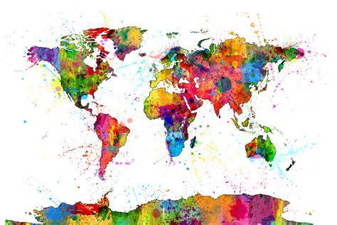 watercolor political map   world digital art