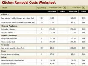 renovation estimate template remodel kitchen cost kitchen renovation budget worksheet