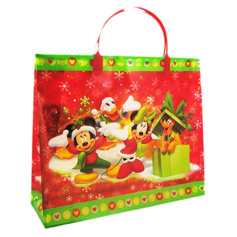 mickey mouse and minnie mouse red christmas gift bag