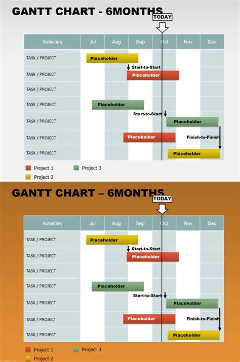 keynote gantt chart template free 6 months gantt powerpoint charts templates