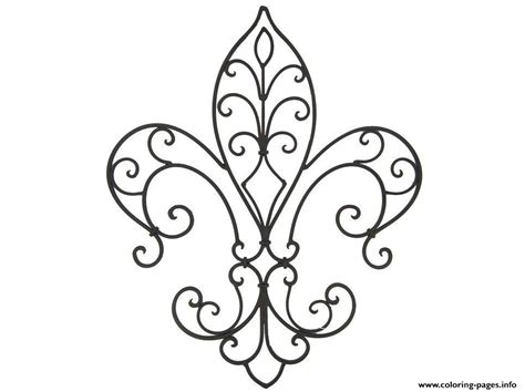 Frilly Fleur De Lis Coloring Pages Printable
