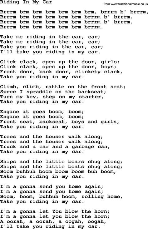 woody guthrie song in my car lyrics