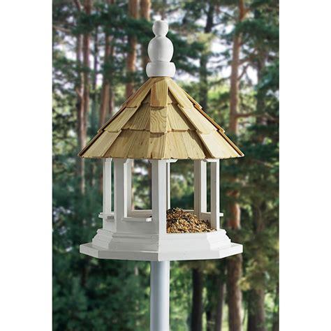 Octagon Bird Feeder Wooden Octagon Birdfeeder With Pole 102793 Bird Houses