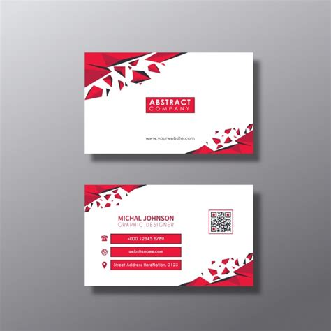 Red and white business card design Vector   Free Download