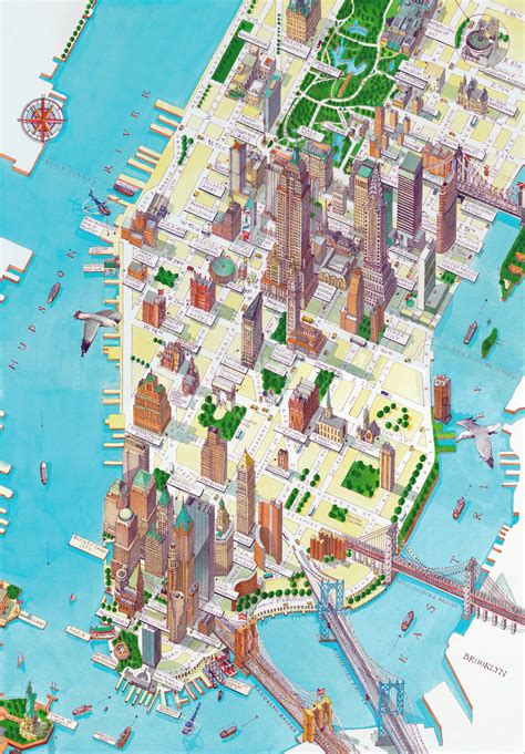 map of manhattan ny detailed new york city tourist maps large detailed panoramic drawing map of lower manhattan ny