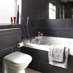Black And White Tiled Bathroom Ideas Bathrooms With Black Tiles On Pinterest Black Bathrooms