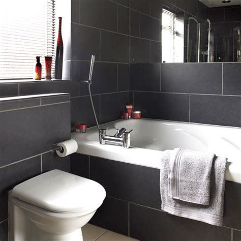bathrooms with black tiles on black bathrooms