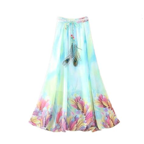 מוצר 2017 chiffon bohemian skirts womens summer 2017 fashion maxi skirts casual saia longa chiffon bohemian vintage summer