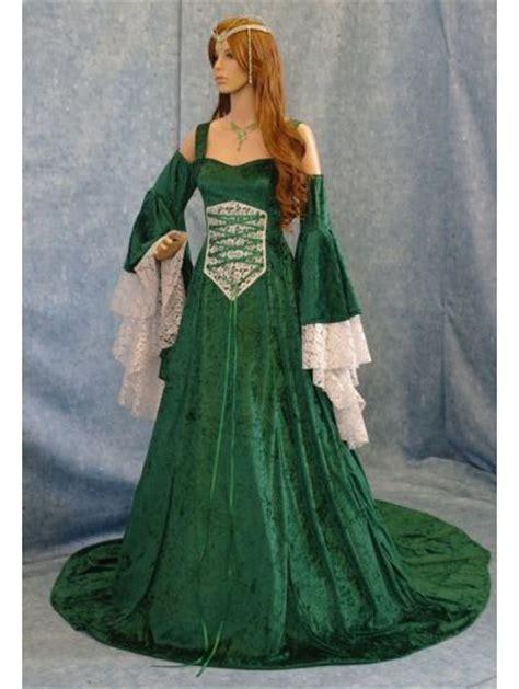 Green Off the Shoulder Velvet Fancy Medieval Dress
